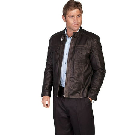 Scully Western Jacket Mens Leather Zip Cinch Waist Onyx 973-52