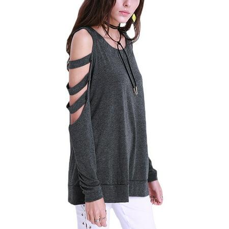 cab93d963b28 FLORHO - Women Cold Shoulder Tops Sexy Cut Out Shirt Slit Long Sleeve Blouse  - Walmart.com