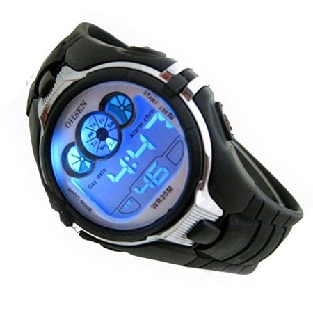 Children Multifunction Watch LED Digital Display Sports Watch Date Alarm Stopwatch with 6 Color Backlights Gift for (Display Digital Watch)