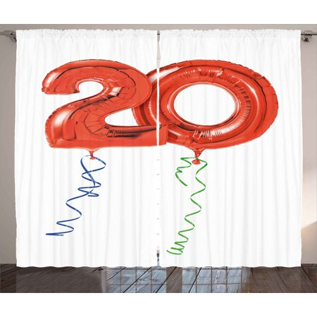 20th Birthday Decorations Curtains 2 Panels Set Flying Balloons Party Theme With Curls Rope Art Print