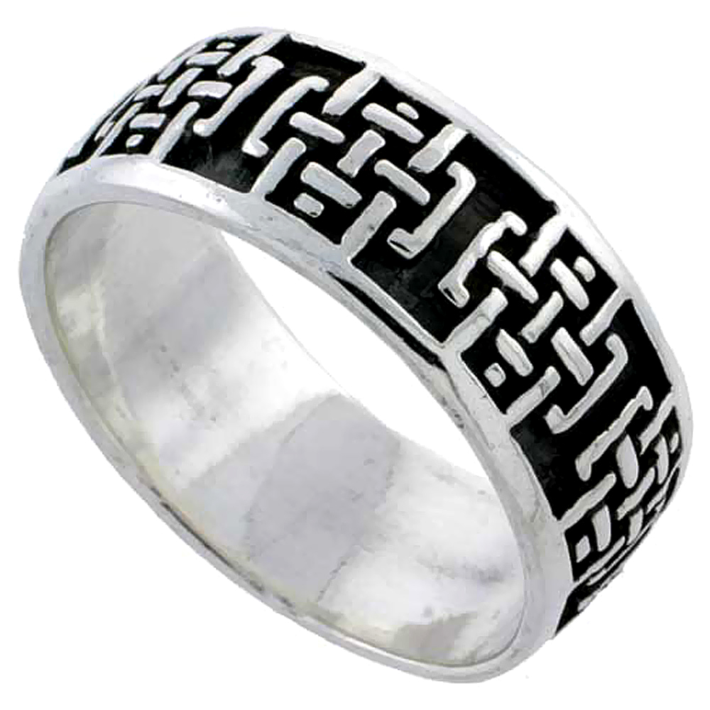 Sterling Silver Celtic Cross Ring Wedding Band Thumb Ring 1/4 inch wide, sizes 5 - 10