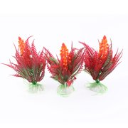 Plastic Fish Tank Artificial Water Grass Plant Decoration Green Orange Red 3 Pcs