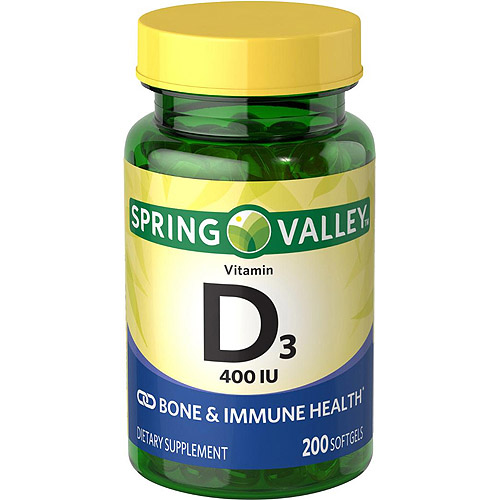 Spring Valley Vitamin D3 Dietary Supplement Tablets, 400 IU, 200 count