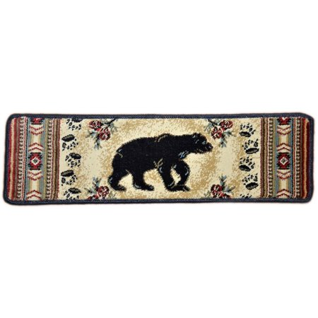Dean Premium Carpet Stair Tread Rugs - Black and Red Bear Cabin Lodge 31
