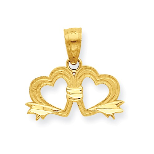 10k Yellow Gold Double Heart Pendant
