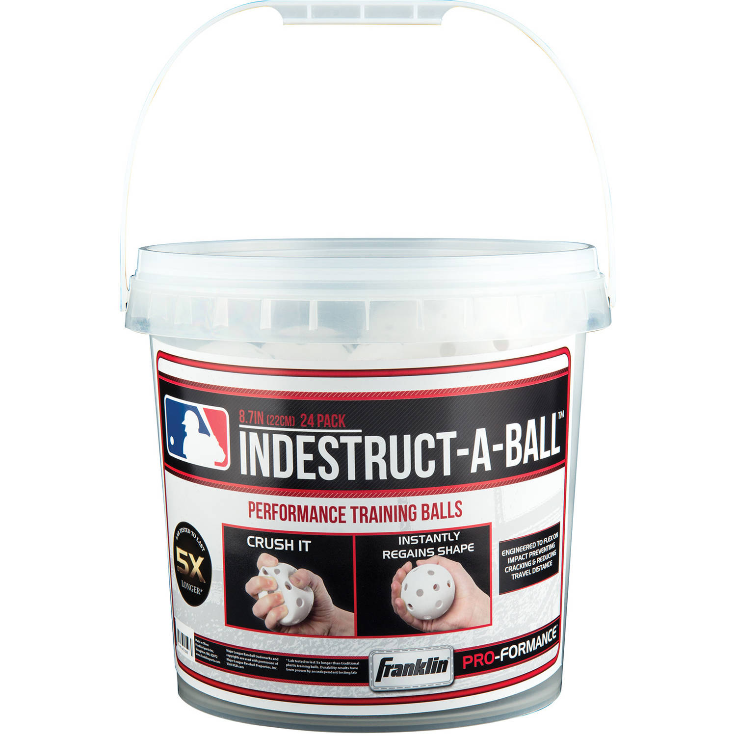 "Franklin Sports MLB 9"" Indestruct-A-Ball Bucket, 24 Count"