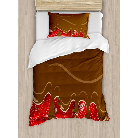 Kitchen Art Wall Decor Twin Size Duvet Cover Set  Strawberries Melted Chocolate Confectionery Fruit Sweet Delicacies  Decorative 2 Piece Bedding Set With 1 Pillow Sham  Brown Red  By Ambesonne