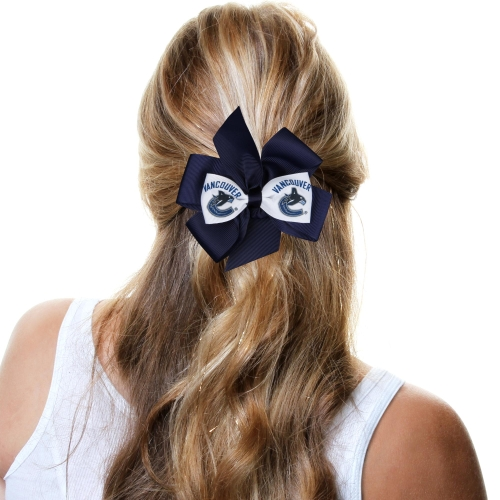 Vancouver Canucks Fan Bow - Navy Blue/White - No Size