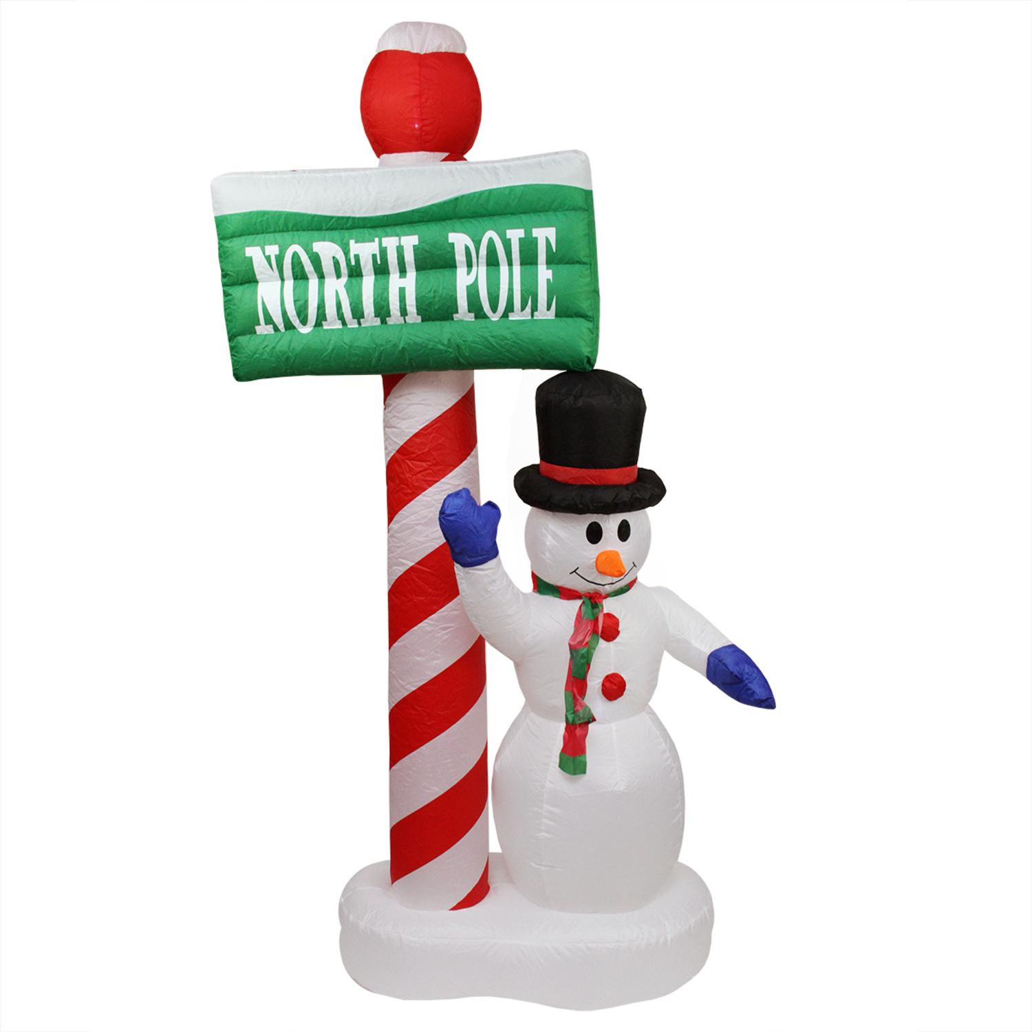 "6' Inflatable Lighted Snowman with ""North Pole"" Sign ..."