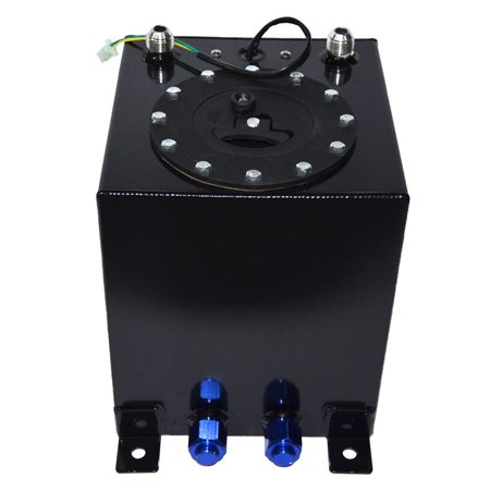 Ktaxon 2.5 Gallon 9.5L Polished Aluminum Race Drift Fuel Cell Tank Level Sender Black