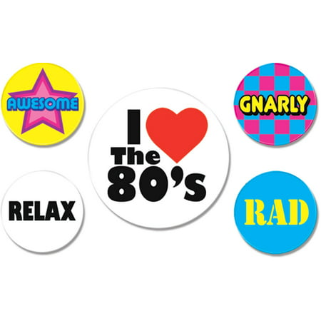 Set of 5 Large 80's Party Costume Buttons Pins Costume (80's Theme Party)
