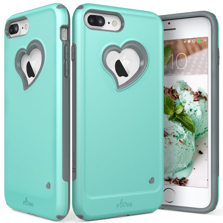 "iPhone 8 Plus Case, iPhone 7 Plus Case, Vena [vLove][Heart-Shape | Dual Layer Protection] Hybrid Bumper Cover for Apple iPhone 8 Plus / 7 Plus (5.5""-inch)"