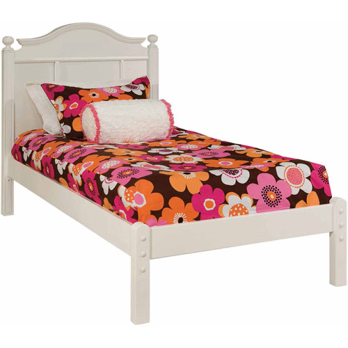 Bolton Furniture Emma Twin Bed with Tall Headboard and Low Footboard, White