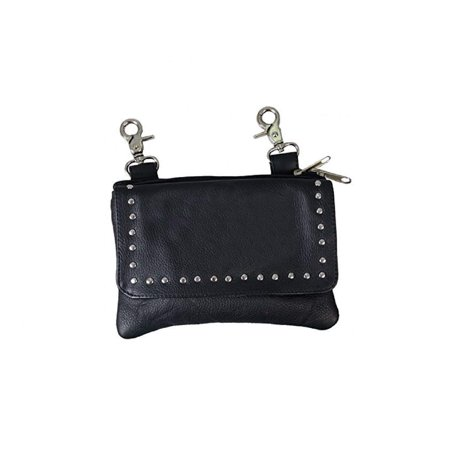 Ladies Soft Cowhide Genuine Leather Clip Pouch Purse, w/Studs, Strap, Lobster Claw Clips -