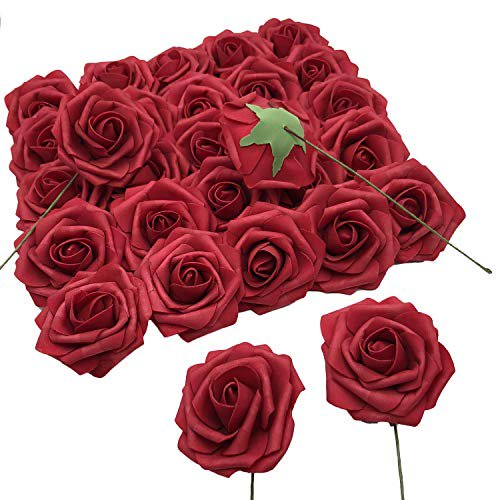 Benvo Artificial Flowers 50pcs Real Looking Artificial Roses Faux Foam Roses Fake Flowers With Stems And Leaves For Wedding Bouquets Bridal Party Baby Shower Home Decorations Diy Dark Red Walmart Com
