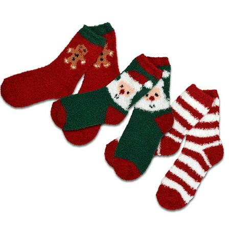 TeeHee Christmas Holiday Cozy Fuzzy Crew Socks 3-Pack for Kids (Gingerbread) (Cheap Christmas Socks)