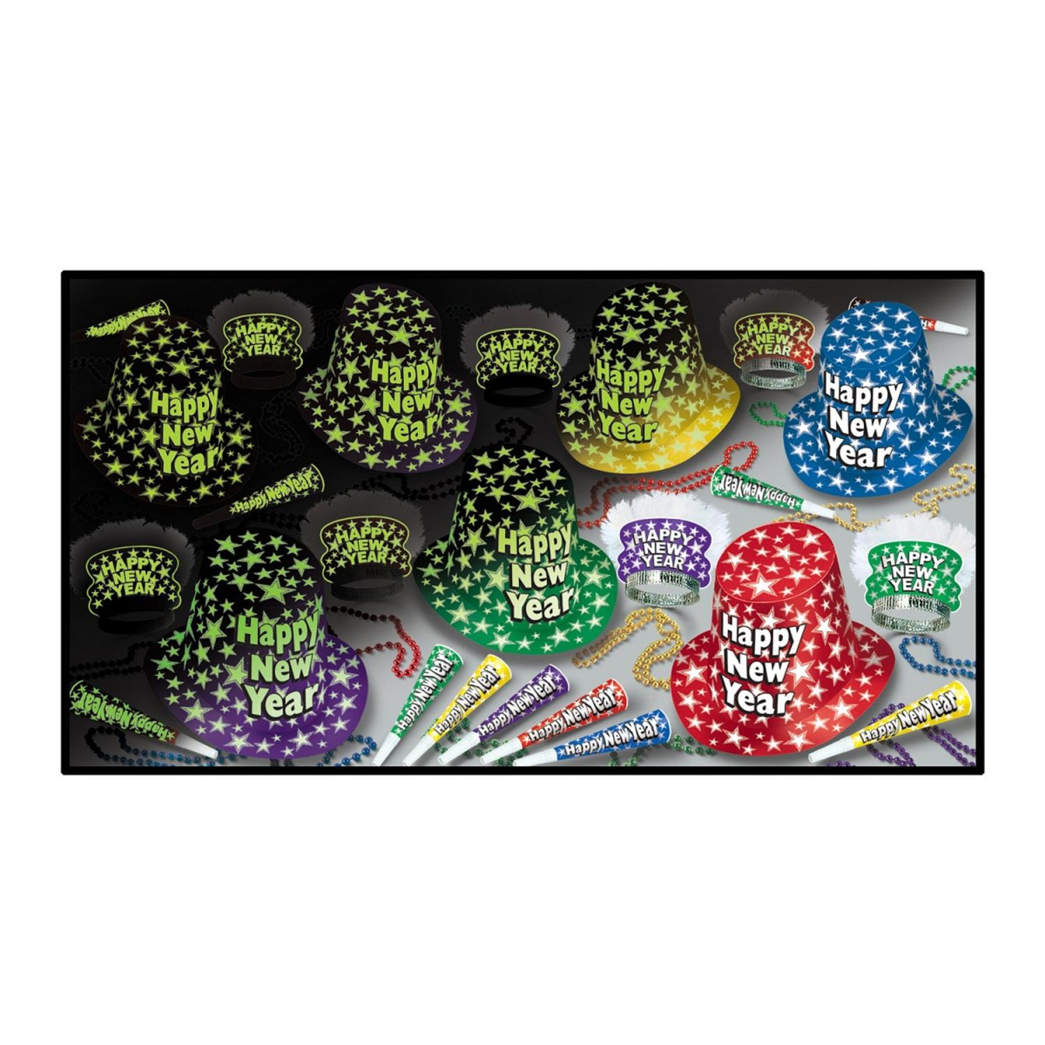 """Club Pack of 50 Midnight Glow """"Happy New Years"""" Legacy Party Favor Hat Kits"""