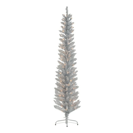 Holiday Time 6-Foot Pre-Lit Tinsel Silver Tree, 100 Clear Lights and Metal Stand ()