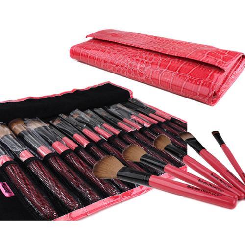 Bundle Monster New 15pc Pro Makeup Eye Shadow Brush Set + Eye Brush Case Pink
