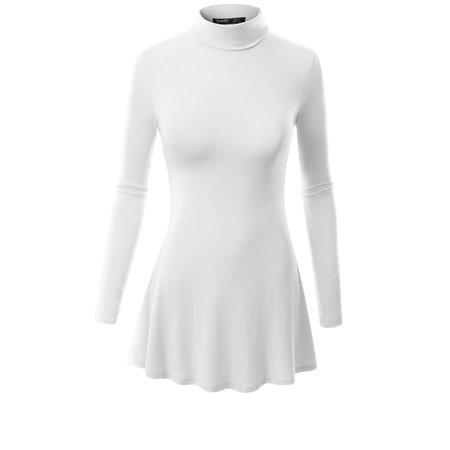 Doublju - Doublju Womens High Neck Turtle Long Sleeve Tunic Dress ...