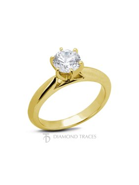 0.31ct F-SI2 VG Round AGI Genuine Diamond 14k Gold Cathedral Solitaire Ring 3mm