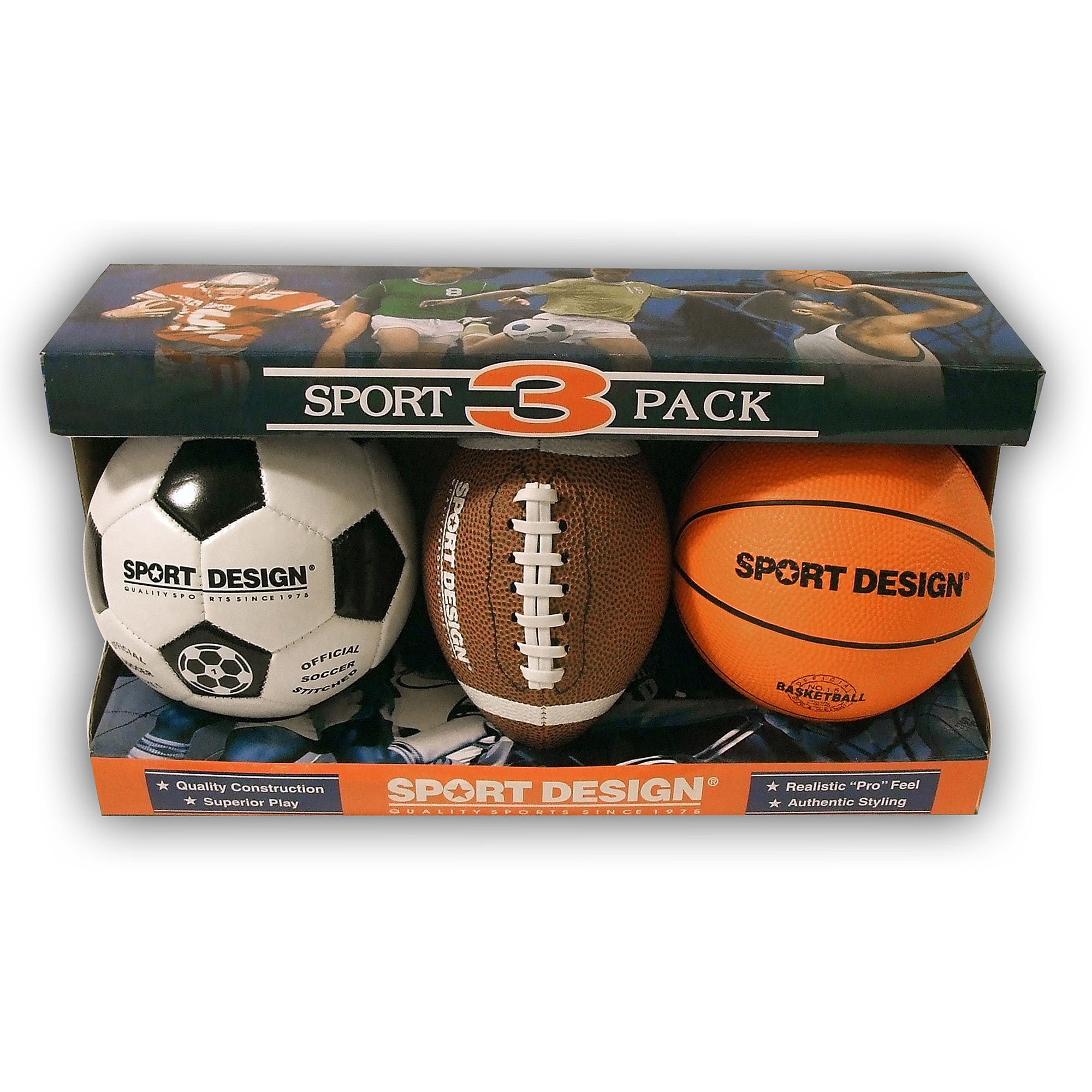 Sport Design Mini Ball Set, Soccer, Football and Basketball