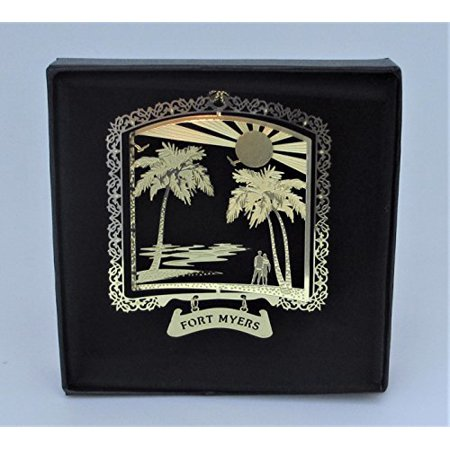 Fort Myers Brass Ornament Florida Black Leatherette Gift Box By I Love My State - Myers Christmas Catalogue