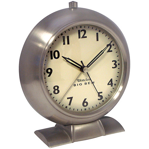 Big Ben 1939 White Dial Alarm Clock, Brushed Nickel