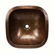 HIGHPOINT COLLECTION 16-inch Square Artisan Hand-hammered Copper Bathroom Sink