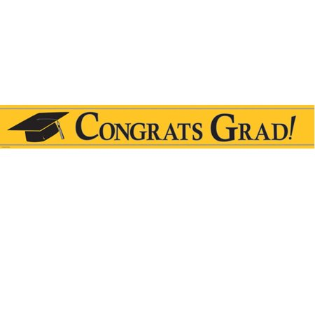 Congrats Grad Banner (Yellow Congrats Grad Foil Streamer)