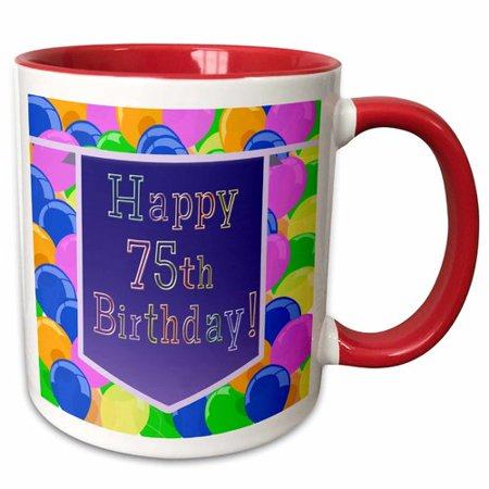 The Party Aisle Balloons With Banner Happy 75th Birthday Coffee Mug