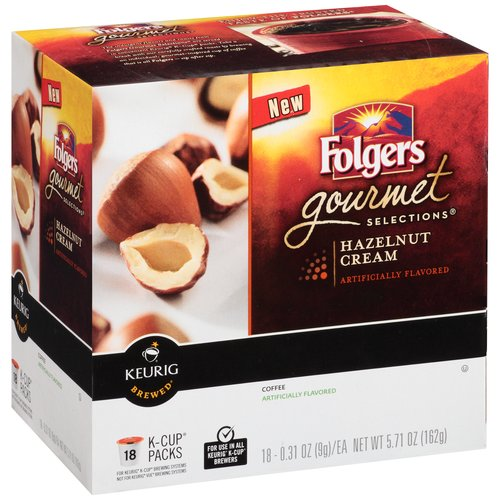 Folgers Gourmet Selections Hazelnut Cream Coffee K-Cup Packs, 0.31 oz, 18 count