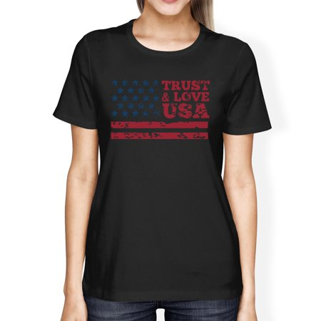 Trust   Love Usa American Flag Shirt Womens Black Round Neck Tshirt