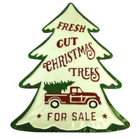 Fresh Cut Christmas Trees Sign.Large Embossed Fresh Cut Christmas Trees Pickup Truck Sign Xmas Home Wall Decor