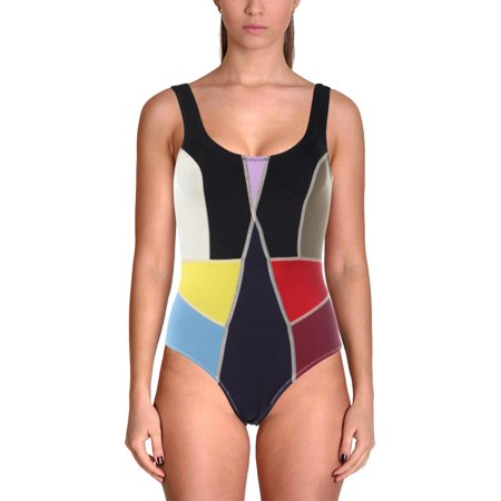 - Cynthia Rowley Womens Prism Scuba Colorblock One-Piece Swimsuit