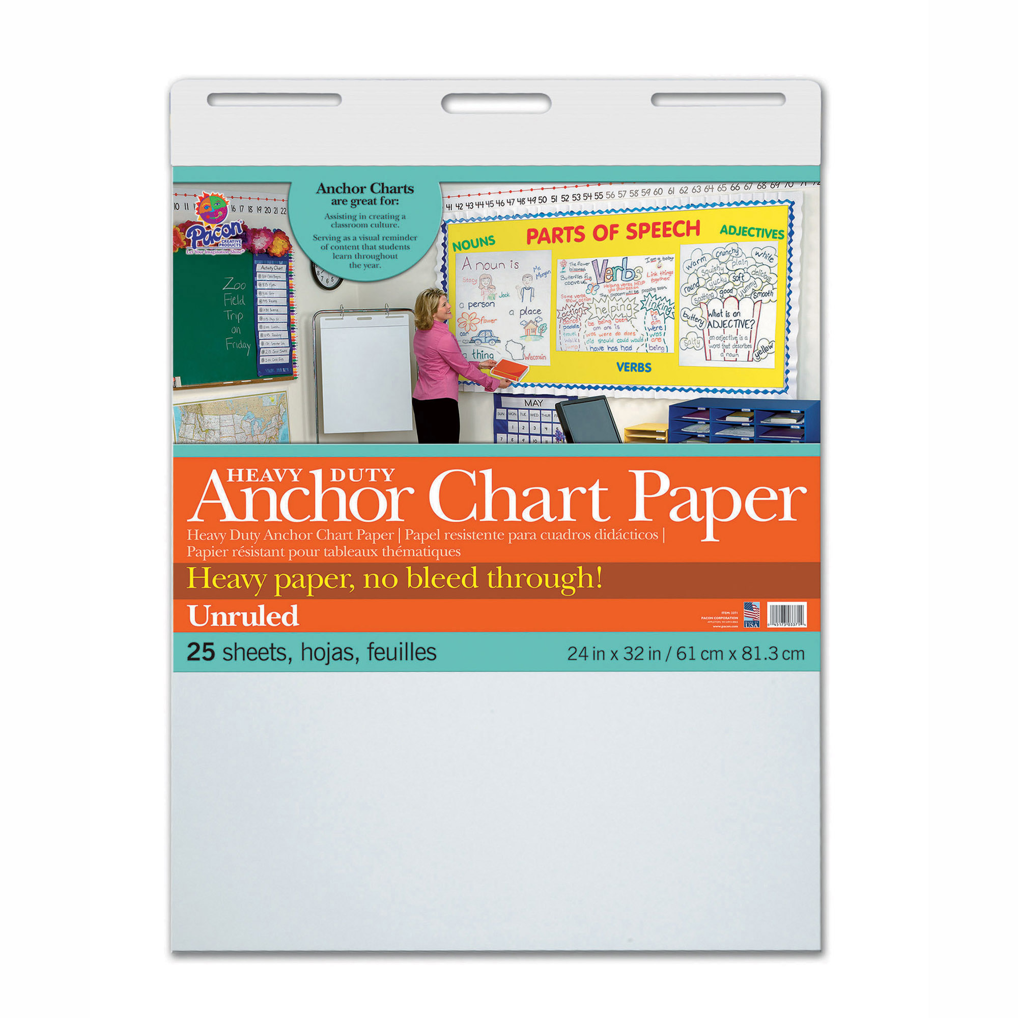 "Heavy Duty Anchor Chart Paper, Unruled, 24""W x 32""L, 25 Sheets"