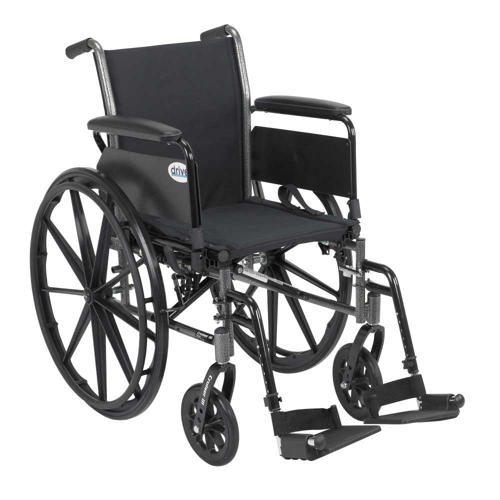 Drive Medical Cruiser III With Full Arms and Footrests 20""