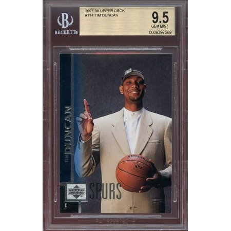 1997 98 Upper Deck 114 Tim Duncan San Antonio Spurs Rookie Card Bgs 95