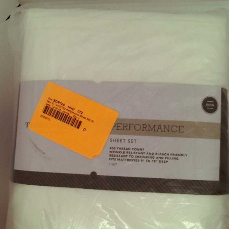 King 400 Thread Count Solid Performance Sheet Set White - Threshold™