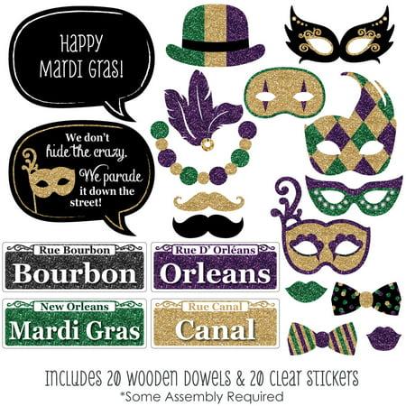 Mardi Gras - Masquerade Party Photo Booth Props Ki - 20 Count - Masquerade Party Ideas