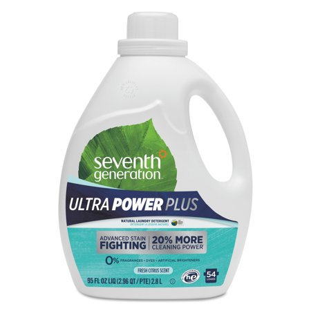 Seventh Generation Ultra Power Plus Liquid Laundry Detergent, Fresh Citrus, 54 Loads, 95 oz