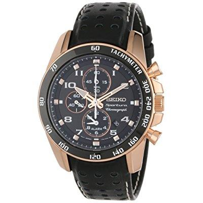 Seiko men's snae80 sportura rose gold ion-plated stainles...