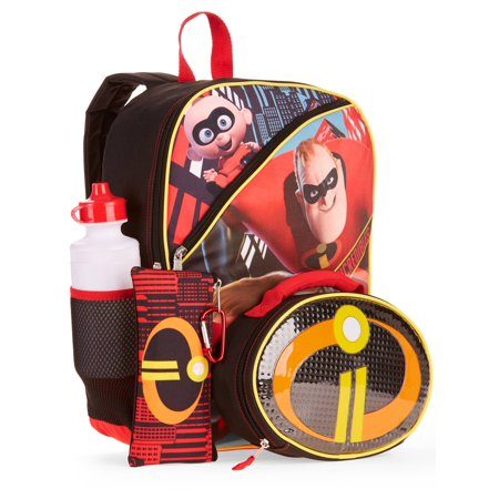 Disney Incredibles 5 Pc Backpack W Lunch Bag