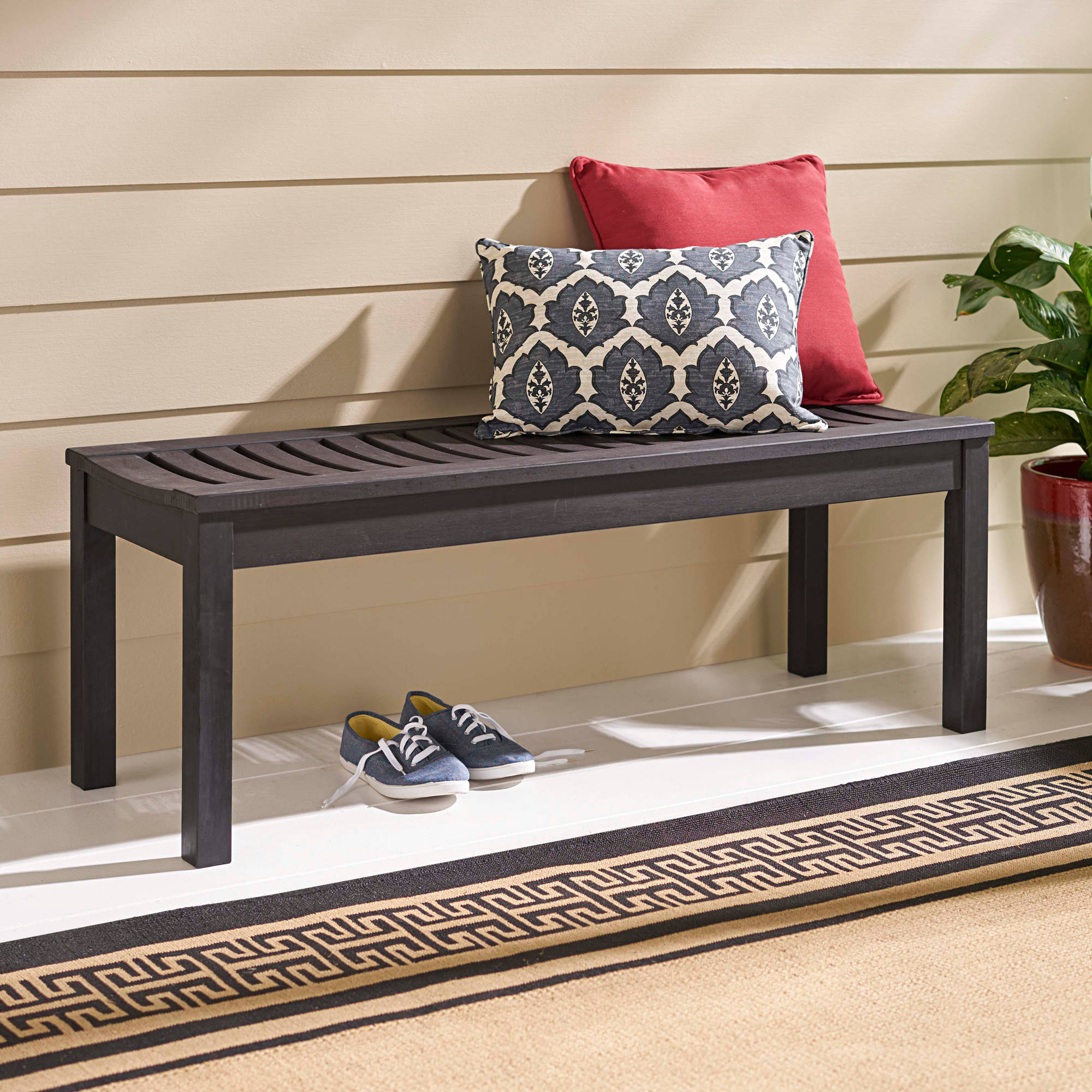 Better Homes and Gardens Delahey Backless Outdoor Bench, Dark Brown