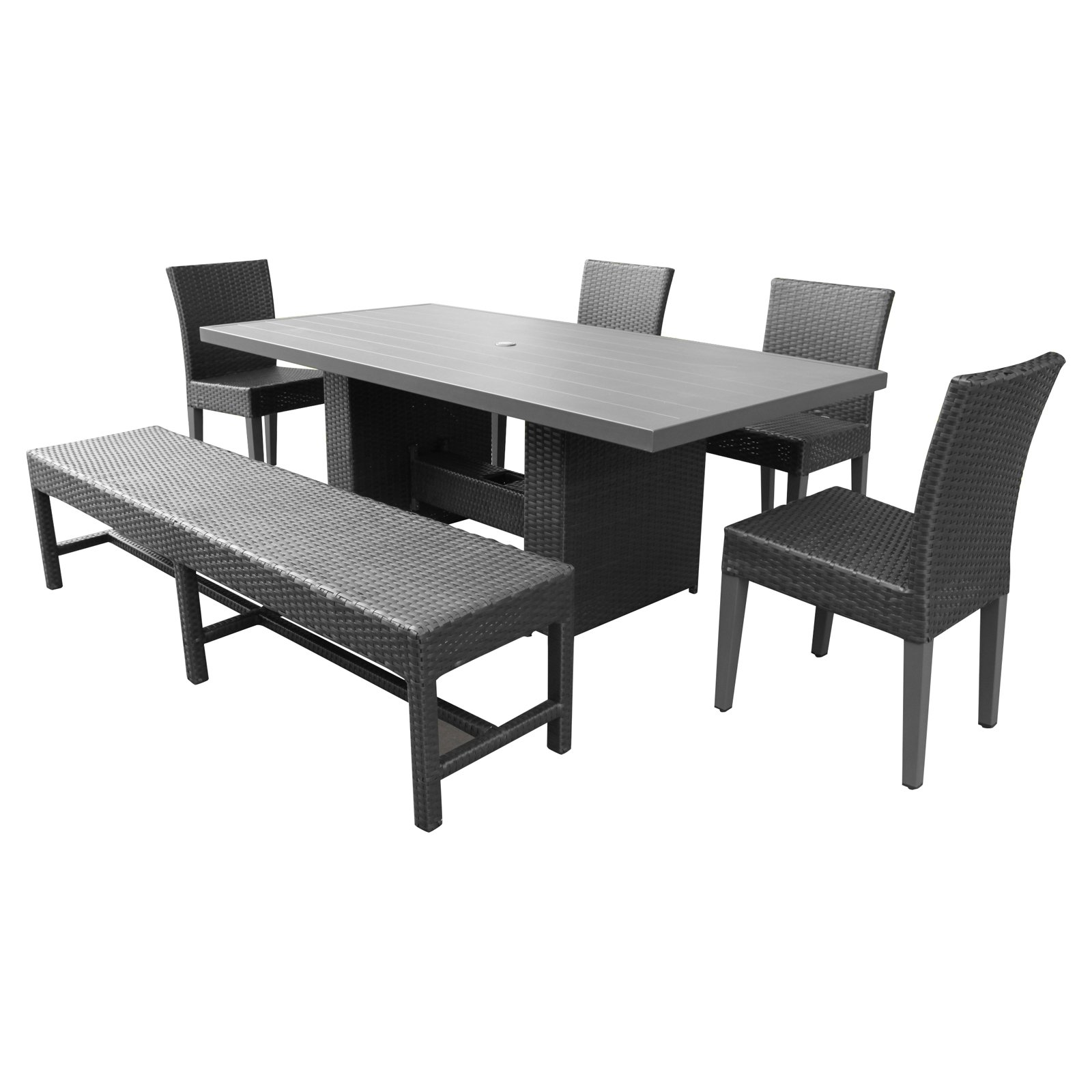 TK Classics Barbados Wicker Rectangular 6 Piece Patio Dining Set