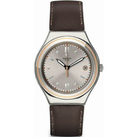 Swatch YGS470 Vintage Hour Silver Dial Leather Strap Unisex (Silver Unisex Strap)