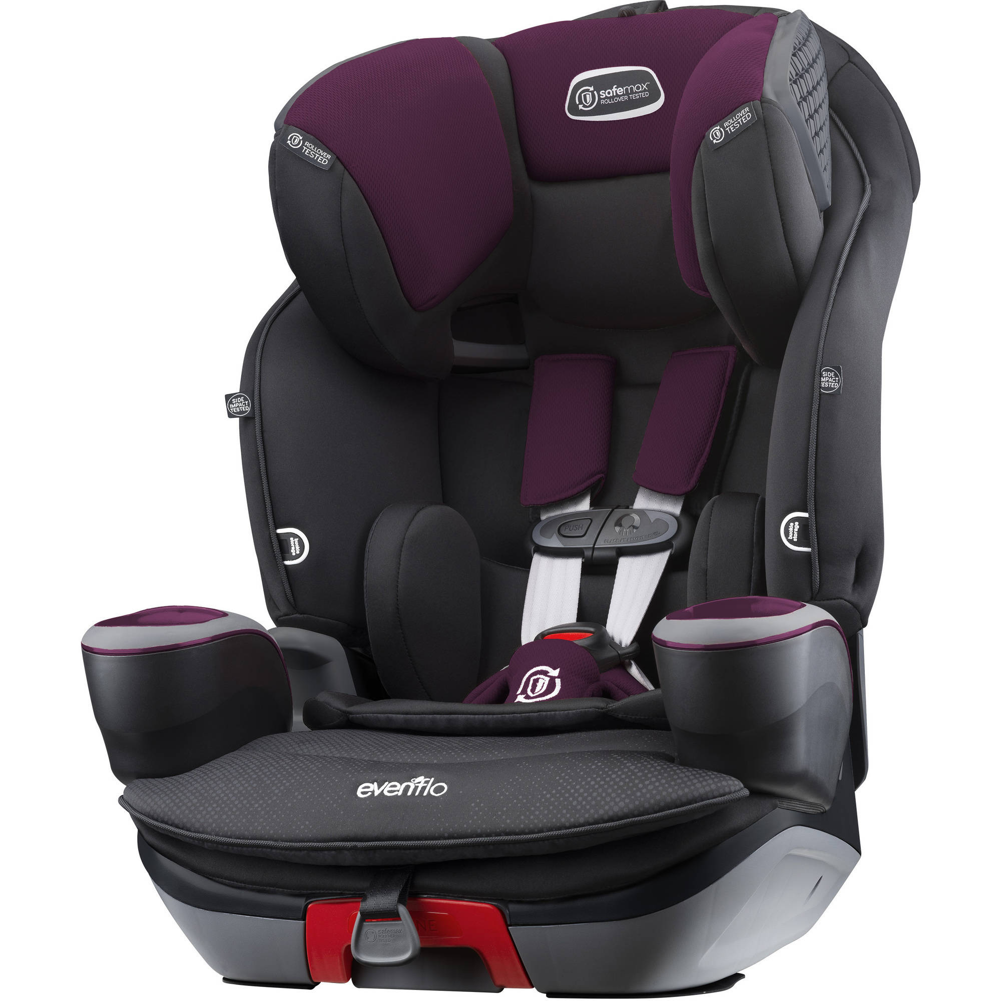 Evenflo SafeMax 3-in-1 Harness Booster Car Seat, Purple Berry