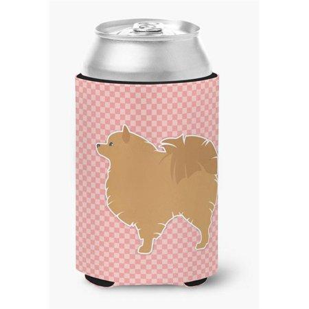Pomeranian Checkerboard Pink Can or Bottle Hugger - image 1 de 1