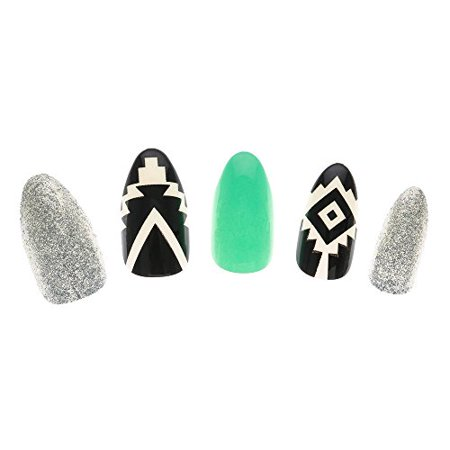 Claire's Girl's Mint, Silver & Aztec Print Stiletto False Nails
