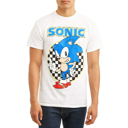 Checkered Shift (Sonic Men's Sonic The Hedgehog Ready To Run Checkered Short Sleeve Graphic T-shirt With Sonic, up to Size)